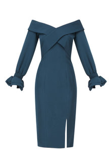Prussian Blue Off Shoulder Fitted Dress by Manika Nanda