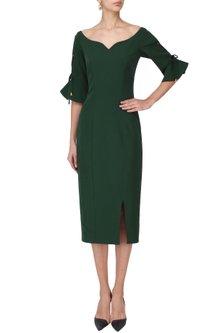 Pine Green Fitted Dress by Manika Nanda