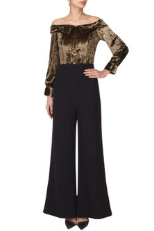 Coffee and Black Off Shoulder Jumpsuit by Manika Nanda
