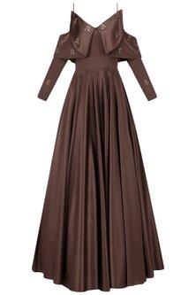 Dark Mohagony Cold Shoulder Gown by Manika Nanda