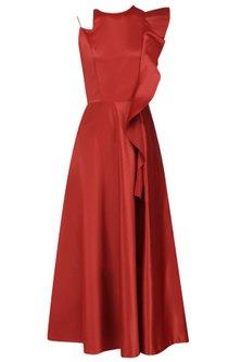 Fire Brick Ruffled Midi Dress by Manika Nanda