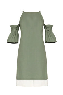 Laurel Green Flounce Sleeves Cold Shoulder Dress by Manika Nanda