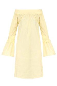 Lemon Yellow Off Shoulder Bell Sleeves Dress by Manika Nanda