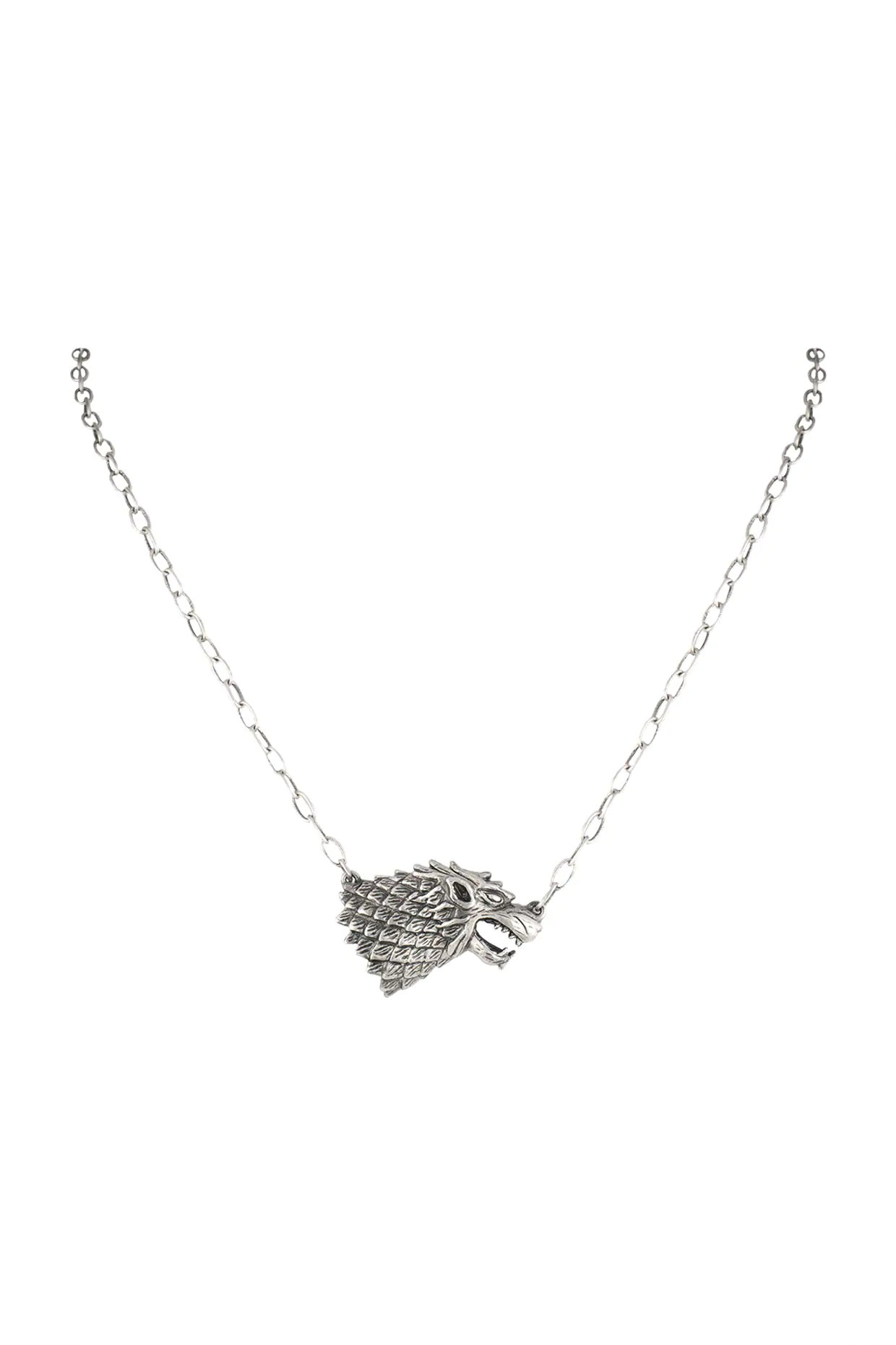 Silver Finish Rise Of The Lone Wolf Chain Necklace