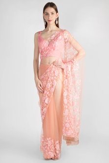 Blush Pink Embroidered Tulle Saree Set by Manishii-Shop By Style