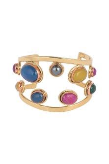 Gold Plated Handmade Blue lapis, Rose Lemon Labradorite & Emerald Stone Cuff by Mona Shroff Jewellery
