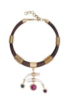 Gold Plated Handmade Stone & Teak Wood Necklace by Mona Shroff Jewellery