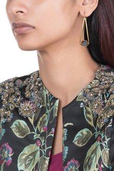 Gold Plated Handmade Black Druzy Hoop Earrings by Mona Shroff Jewellery