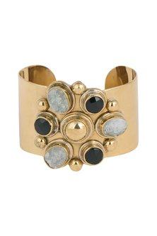 Gold Plated Handmade White Druzy & Black Onyx Stone Cuff by Mona Shroff Jewellery