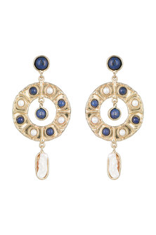 Gold Plated Handmade Blue Lapis Stone & Pearl Cuff by Mona Shroff Jewellery