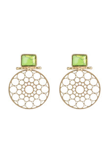 Gold Plated Handmade Turquoise Stone Carved Earrings by Mona Shroff Jewellery