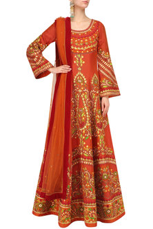 Orange Machine Embroidered Anarkali Set by Mynah Designs By Reynu Tandon