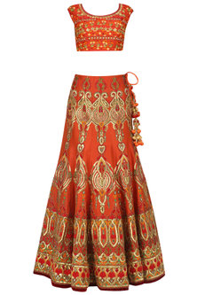 Orange Machine and Adda Embroidered Lehenga Set by Mynah Designs By Reynu Tandon