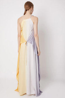 Yellow & Grey Shaded Maxi Dress by Na-ka
