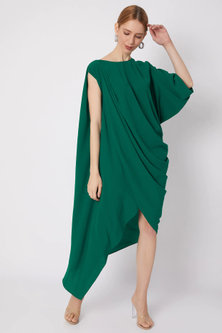 Sea Green Asymmetric Draped Dress by Na-ka