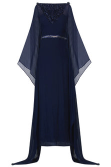 Navy Blue Embroidered Kaftan Drape Gown by Naffs