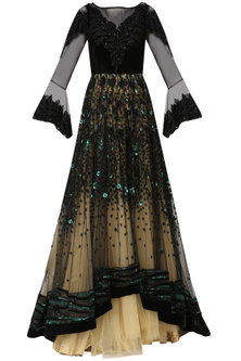 Black and Gold Embroidered Asymmetrical Layered Gown by Naffs