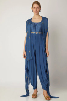 Indigo Blue Embroidered Jumpsuit With Attached Cape by Nidhika Shekhar