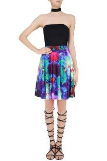 Sea Green Digital Printed Skater Skirt by Neha Taneja