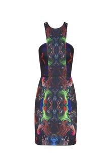 Black Digital Printed Pencil Fitted Dress by Neha Taneja