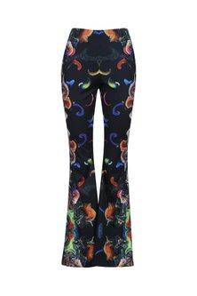 Black Digital Printed Bell Bottom Pants by Neha Taneja