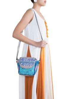 Light Blue Handblock Printed Embroidered Sequins Bag by Neonia