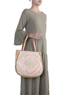 Peach & Mustard Handblock Printed Embroidered Tote Bag by Neonia