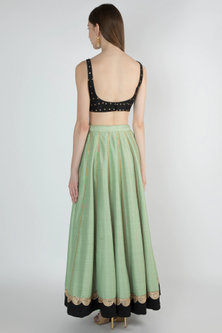Leaf Green Embroidered Lehenga Set by Ranian