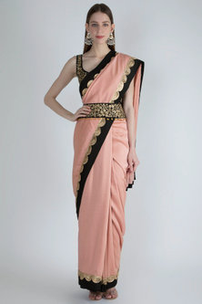 Blush Pink Embroidered Saree Set With Belt by Ranian