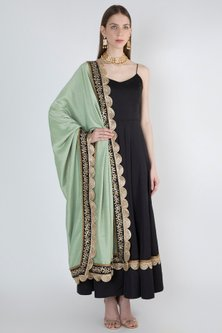 Black Anarkali Kurta With Leaf Green Embroidered Dupatta by Ranian