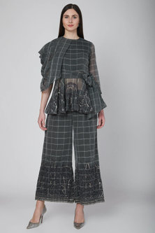 Grey Checkered Peplum Top With Pants & Belt by Neha & Tarun