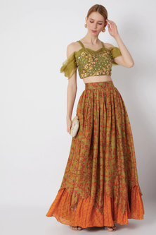 Mehendi Green Embroidered Blouse With Printed Skirt by NE'CHI