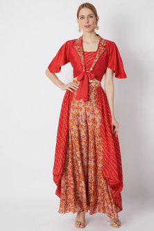 Red Embroidered Shirt With Bustier & Printed Pants by NE'CHI