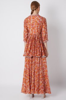 Mauve Embroidered & Printed Angrakha Top With Pants by NE'CHI