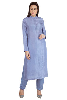 Powder Blue Embroidered Kurta With Pants by Nineteen89 by Divya Bagri