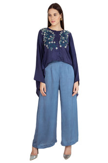 Indigo Blue Embroidered Kaftan Top With Pants by Nineteen89 by Divya Bagri