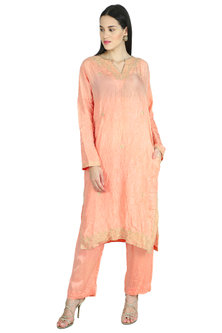 Peach Pink Embroidered Kurta by Nineteen89 by Divya Bagri