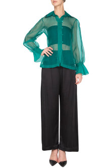 Emerald sheer embroidered shirt by Nineteen89 by Divya Bagri