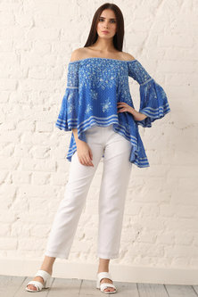 Indigo Blue Printed Off Shoulder Top by Namrata Joshipura