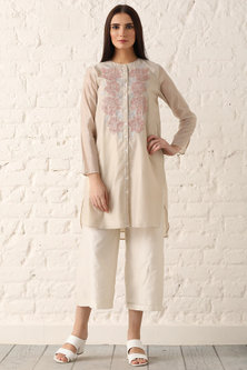 Beige Embroidered Straight Tunic by Namrata Joshipura