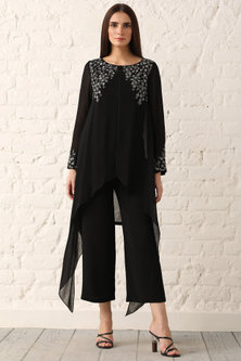 Black Embroidered Textured Tunic by Namrata Joshipura