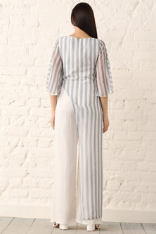Blue Striped Chiffon Jumpsuit by Namrata Joshipura