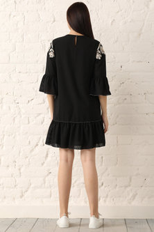 Black Striped & Embroidered Mini Dress by Namrata Joshipura