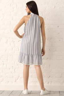 Blue Striped & Embroidered Dress by Namrata Joshipura