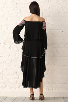 Black Embroidered Off Shoulder Dress by Namrata Joshipura