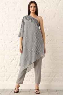Grey Embroidered & Printed Tunic by Namrata Joshipura