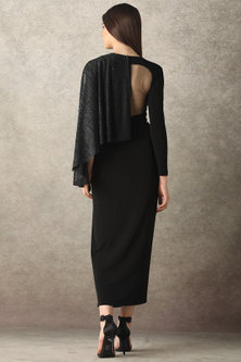 Black Shimmery Draped Dress by Namrata Joshipura