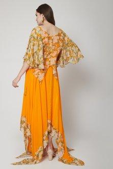 Orange Asymmetric Top With Skirt & Scarf by Nikasha
