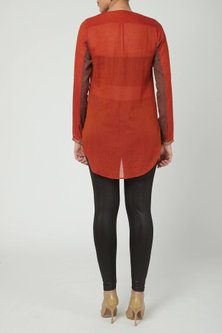 Red Dotted Top With Buttons by Nida Mahmood