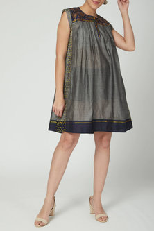 Grey Embroidered Knee Length Dress by Nida Mahmood